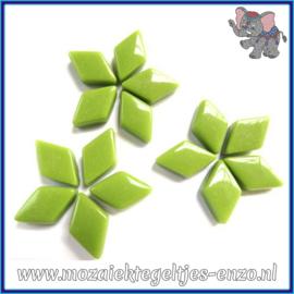 Glasmozaiek steentjes - Diamonds Ruitjes Wiebertjes Normaal - 12 x 19 mm - Enkele Kleuren - per 50 gram - New Green