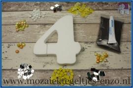Mozaiek Kant & Klaar Pakket Piepschuim Huisnummer Groot - Cijfer 4 Geel