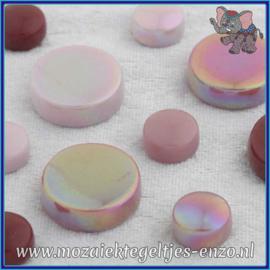 Glasmozaiek steentjes - Optic Drops Normaal en Parelmoer - 12 en 20 mm - Gemixte Kleuren - per 50 gram - Pretty in Pink
