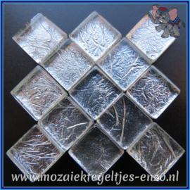 Glasmozaiek tegeltjes - Foil - 1 x 1 cm - Enkele Kleuren - per 50 gram - Mini Silver
