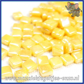 Glasmozaiek Pixel steentjes - Ottoman Parelmoer - 0,8 x 0,8 cm - Enkele Kleuren - per 50 gram - Warm Yellow