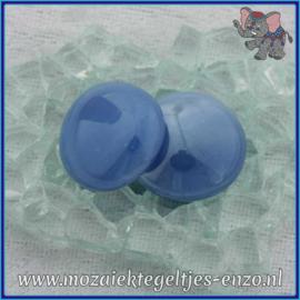 Glasmozaiek steentjes - Glasnuggets/Glasstenen Parelmoer - 18/22 mm - Enkele Kleuren - per 10 stuks - Blue