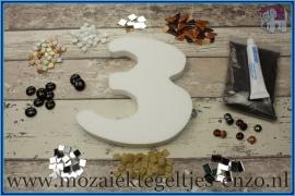 Mozaiek Kant & Klaar Pakket Piepschuim Huisnummer Groot - Cijfer 3 Bruin