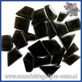 Glasmozaiek steentjes Snippets Puzzel Stukjes Normaal - Enkele Kleuren - per 50 gram - Opal Black