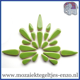Keramische mozaiek steentjes - Keramiek Teardrops Druppels Normaal - 15 en 30 mm - Enkele Kleuren - per 50 gram - Kiwi
