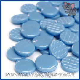 Glasmozaiek steentjes - Penny Rounds Normaal - 18 mm - Enkele Kleuren - per 50 gram - Lake Blue