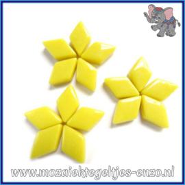 Glasmozaiek steentjes - Diamonds Ruitjes Wiebertjes Normaal - 12 x 19 mm - Enkele Kleuren - per 50 gram - Opal Yellow
