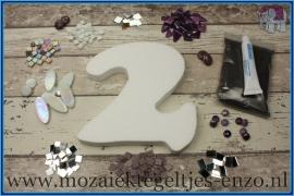 Mozaiek Kant & Klaar Pakket Piepschuim Huisnummer Groot - Cijfer 2 Paars