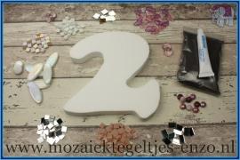 Mozaiek Kant & Klaar Pakket Piepschuim Huisnummer Groot - Cijfer 2 Roze