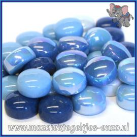 Glasmozaiek steentjes - Optic Drops Normaal en Parelmoer - 12 mm - Gemixte Kleuren - per 50 gram - Turquoise Oase