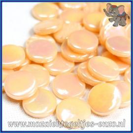 Glasmozaiek steentjes - Penny Rounds Parelmoer - 18 mm - Enkele Kleuren - per 50 gram - Blush