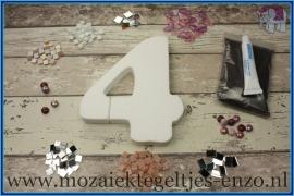 Mozaiek Kant & Klaar Pakket Piepschuim Huisnummer Groot - Cijfer 4 Roze