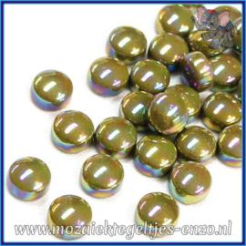 Glasmozaiek steentjes - Optic Drops Parelmoer - 12 mm - Enkele Kleuren - per 50 gram - Olive