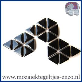 Keramische mozaiek steentjes - Triangles Driehoekjes Normaal - 15 mm - Enkele Kleuren - per 50 gram - Black