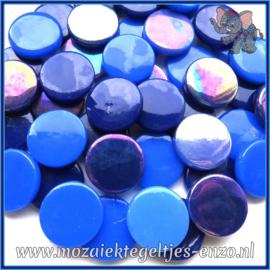 Glasmozaiek steentjes - Penny Rounds Normaal en Parelmoer - 18 mm - Gemixte Kleuren - per 50 gram - Bahama Mama