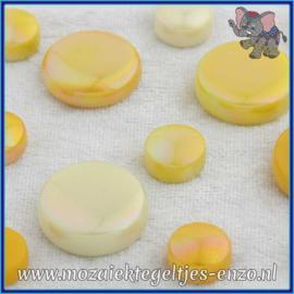 Glasmozaiek steentjes - Optic Drops Normaal en Parelmoer - 12 en 20 mm - Gemixte Kleuren - per 50 gram - French Mustard