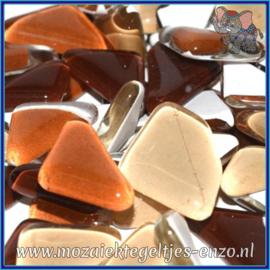 Glasmozaiek steentjes - Soft Glass Puzzles Normaal - Gemixte Kleuren - per 50 gram - Chocolate Cosmos