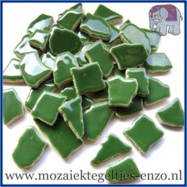 Keramische mozaiek steentjes - Keramiek Puzzel Stukjes Normaal - Enkele Kleuren - per 50 gram - Eucalyptus Green