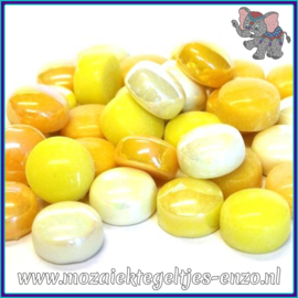 Glasmozaiek steentjes - Optic Drops Normaal en Parelmoer - 12 mm - Gemixte Kleuren - per 50 gram - French Mustard