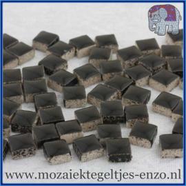 Geglazuurde Keramiek Stenen - 1 x 1 cm - Enkele Kleuren - per 60 steentjes - Black
