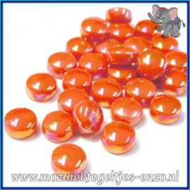 Glasmozaiek steentjes - Optic Drops Parelmoer - 12 mm - Enkele Kleuren - per 50 gram - Orange Red