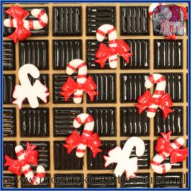 Cabochon hars plaksteen - Kerst - Platte onderkant - Unlimited edition - per 1 stuk - Zuurstok met strik