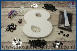 Mozaiek Kant & Klaar Pakket Piepschuim Huisnummer Groot - Cijfer 8 Zwart