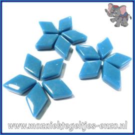 Glasmozaiek steentjes - Diamonds Ruitjes Wiebertjes Normaal - 12 x 19 mm - Enkele Kleuren - per 50 gram - Lake Blue
