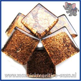 Glasmozaiek tegeltjes - Foil - 2 x 2 cm - Enkele Kleuren - per 20 steentjes - Bronze