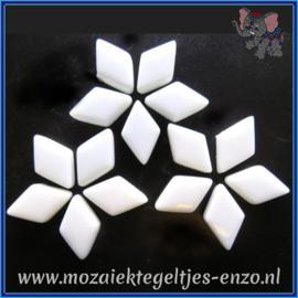 Glasmozaiek steentjes - Diamonds Ruitjes Wiebertjes Normaal - 12 x 19 mm - Enkele Kleuren - per 50 gram - Opal White