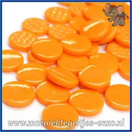 Glasmozaiek steentjes - Penny Rounds Normaal - 18 mm - Enkele Kleuren - per 50 gram - Orange Opal