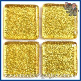 Glasmozaiek tegeltjes - Glitter - 2 x 2 cm - Enkele Kleuren - per 20 steentjes - Gold Bullion
