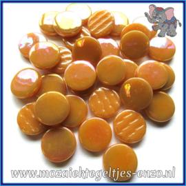 Glasmozaiek steentjes - Penny Rounds Parelmoer - 18 mm - Enkele Kleuren - per 50 gram - Toffee