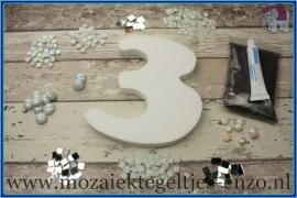 Mozaiek Kant & Klaar Pakket Piepschuim Huisnummer Groot - Cijfer 3 Wit