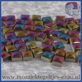 Geglazuurde Keramiek Stenen - 1 x 1 cm - Enkele Kleuren - per 60 steentjes - Disco Lights