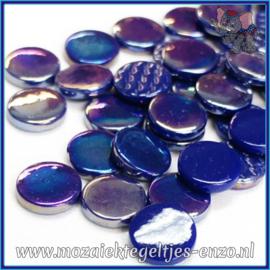 Glasmozaiek steentjes - Penny Rounds Normaal en Parelmoer - 18 mm - Gemixte Kleuren - per 50 gram - Blue Devil