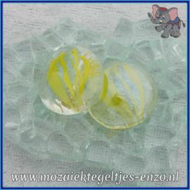 Glasmozaiek steentjes - Glasnuggets/Glasstenen Parelmoer - 18/22 mm - Enkele Kleuren - per 10 stuks - Eye Cat Yellow