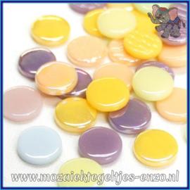 Glasmozaiek steentjes - Penny Rounds Normaal en Parelmoer - 18 mm - Gemixte Kleuren - per 50 gram - Cotton Candy