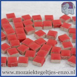 Geglazuurde Keramiek Stenen - 1 x 1 cm - Enkele Kleuren - per 60 steentjes - Poppy