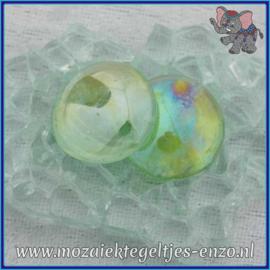Glasmozaiek steentjes - Glasnuggets/Glasstenen Parelmoer - 18/22 mm - Enkele Kleuren - per 10 stuks - Green Transparent Opalescent