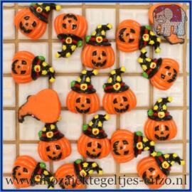 Cabochon hars plaksteen - Halloween - Platte onderkant - Unlimited edition - per 1 stuk - Pompoen hoofd met Halloween muts