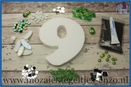 Mozaiek Kant & Klaar Pakket Piepschuim Huisnummer Groot - Cijfer 9 Groen