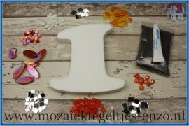 Mozaiek Kant & Klaar Pakket Piepschuim Huisnummer Groot - Cijfer 1 Oranje