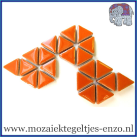 Keramische mozaiek steentjes - Triangles Driehoekjes Normaal - 15 mm - Enkele Kleuren - per 50 gram - Popsicle Orange