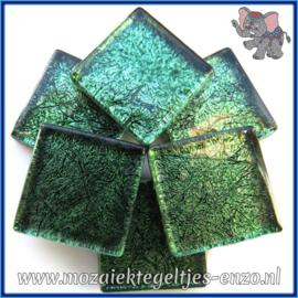 Glasmozaiek tegeltjes - Foil - 2 x 2 cm - Enkele Kleuren - per 20 steentjes - Emerald