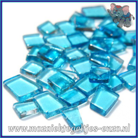 Glasmozaiek steentjes - Transparant Glass Puzzles Normaal - Enkele Kleuren - per 50 gram - Operatic Aqua