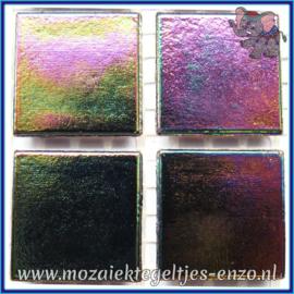 Glasmozaiek tegeltjes - Parelmoer - 2 x 2 cm - Enkele Kleuren - per 20 steentjes - Jet Black