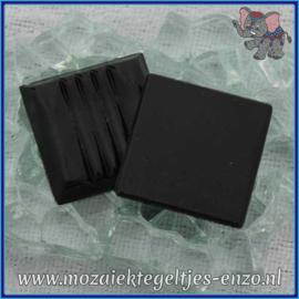 Glasmozaiek tegeltjes - Basic Line - 2 x 2 cm - Enkele Kleuren - per 20 steentjes - Black A49