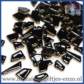 Keramische mozaiek steentjes - Keramiek Puzzel Stukjes Normaal - Enkele Kleuren - per 50 gram - Black