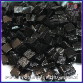 Glasmozaiek Pixel steentjes - Ottoman Matte - 0,8 x 0,8 cm - Enkele Kleuren - per 50 gram - Black Opal